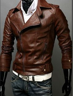 HAND MADE BROWN LEATER JACKET FOR MENS